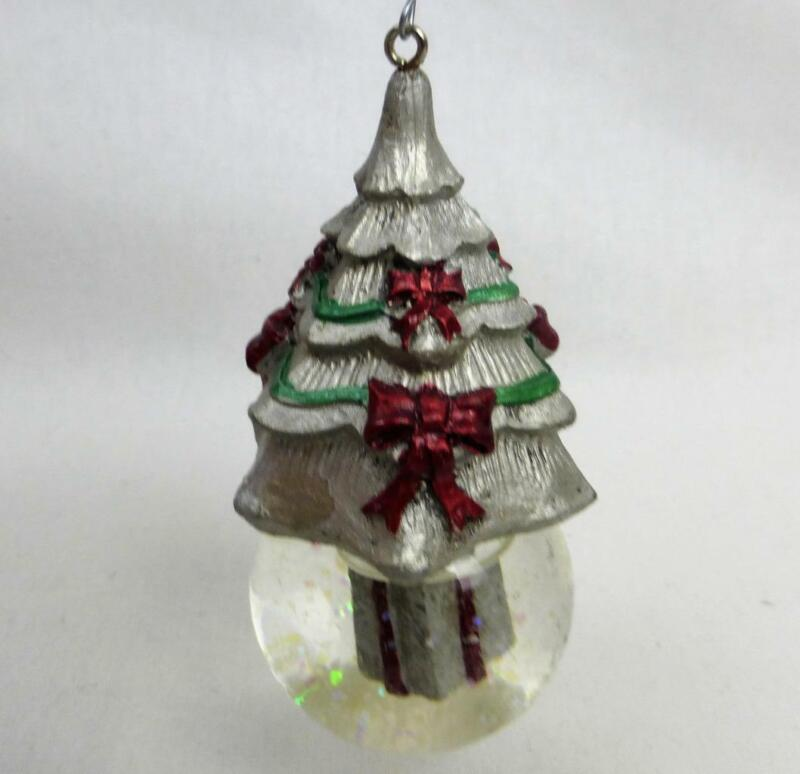 Pewter Glass Snowglobe Christmas Tree Wrapped Present Iridescent Snow Ornament