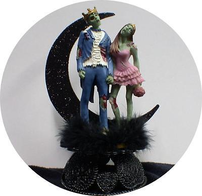 Zombie King Queen Halloween Wedding Cake Topper Funny Skeleton Bride Groom top (Halloween Wedding Toppers)