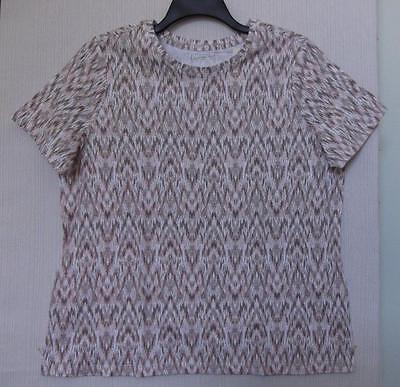 NWT STUDIO WORKS SIZE 2X BROWN PEACH WHITE IKAT PRINT KNIT TOP SHORT SLEEVE