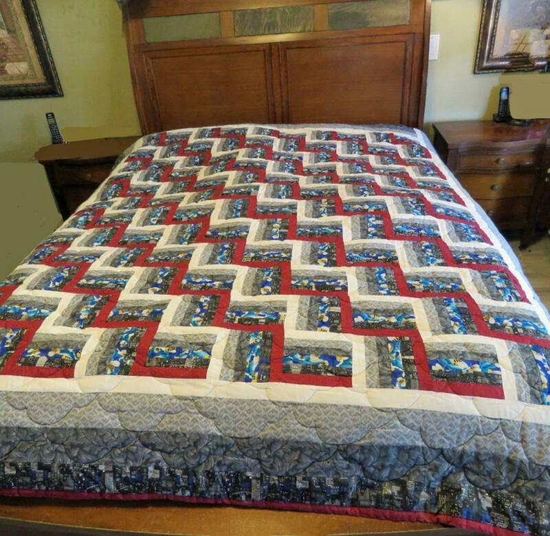 "Queen Size Quilt Hand Made Chevron Multiple Designs Bee City Scene EUC 89"" x 78"""