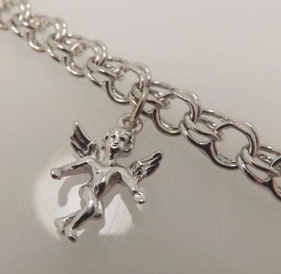 - 925 STERLING SILVER DOUBLE CHARM LINK BRACELET WITH ANGEL 11.4 GR 7.25 IN SB9