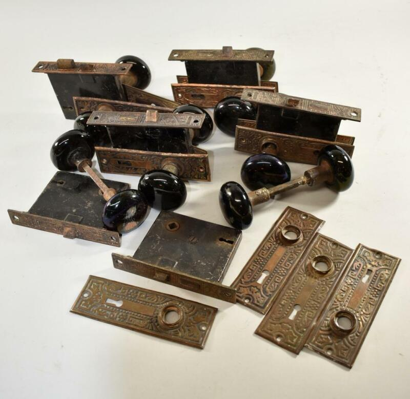 Eastlake Lock Sets with Plates and Porcelain Knobs, 6 Available