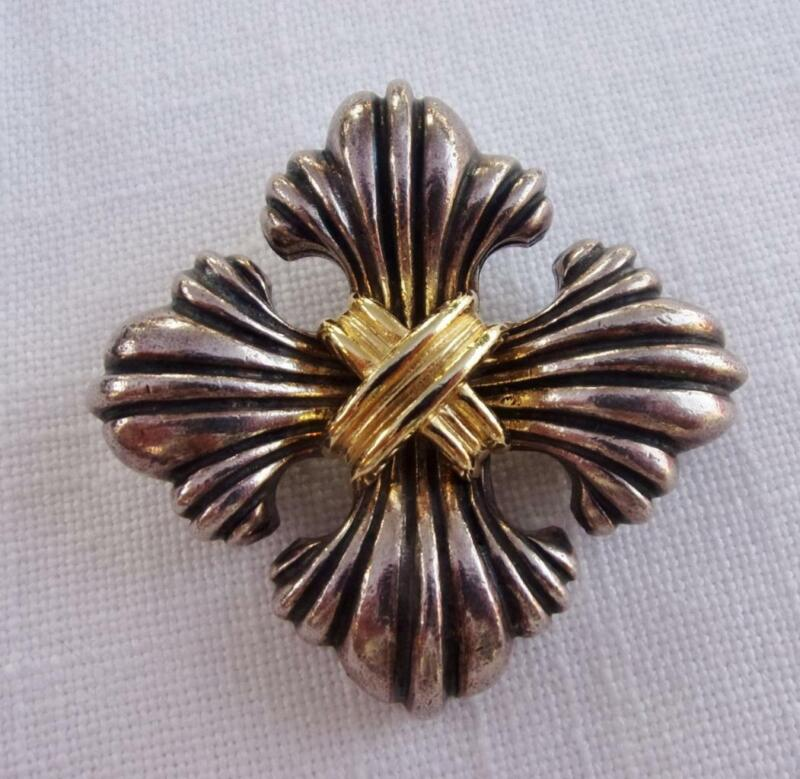 Two Tone Maltese Cross Brooch. Antiqued Silver Tone w Gold Tone Center