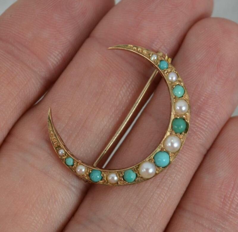 Victorian 9ct Gold Turquoise and Pearl Crescent Brooch Circa 1900