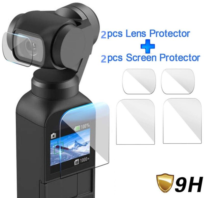 2 Pcs Tempered Glass For DJI Osmo Pocket Camera (Lens + Screen) Screen Protector