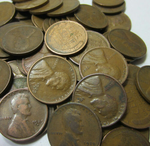 (50) 1920-1929 Dated Wheat Penny Roll // Twenties // P-D-S // 50 Coins