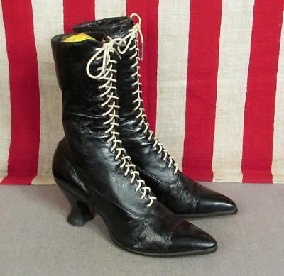 Vintage Viktorianische Damen Schwarze Geschnürte Leder Hohe Stiefel Antik (Viktorianische Stiefel)