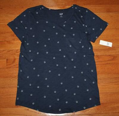 NEW NWT Womens GAP 100% Cotton Peace Signs Print Easy Tee T-Shirt $19 *E3