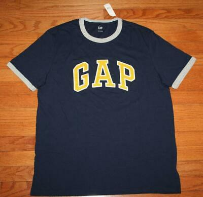 NWT Mens GAP Arch PATCH LOGO Graphic Tee RINGER T-Shirt Blue VINTAGE Style *3H
