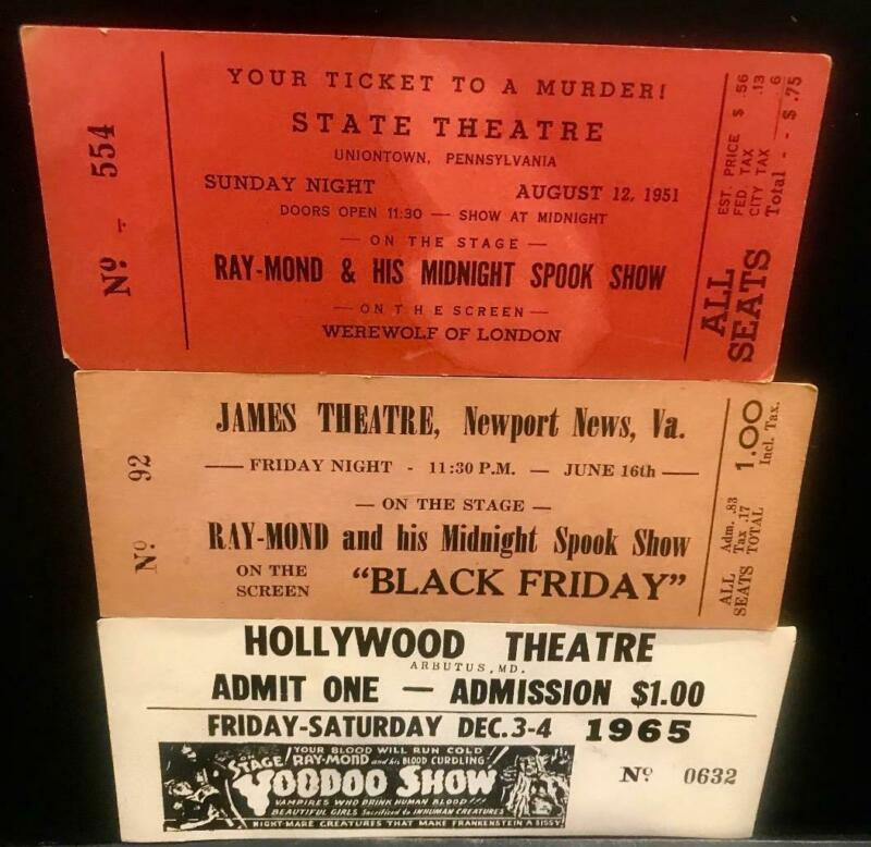 3 Rare Ray-Mond Original Voodoo and Midnight Spook Show Tickets Horror Films