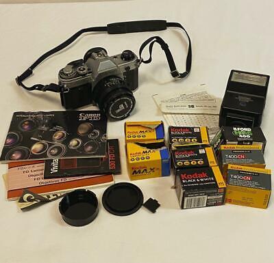 Canon AE-1 Program 35mm Film Manual SLR Camera w/ 50mm FD 1:1.8 Lens w/ Flash