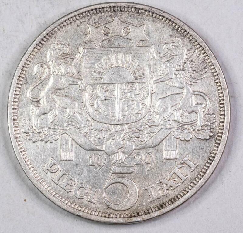 Latvia 1929 Silver 5 Lati XF #2466