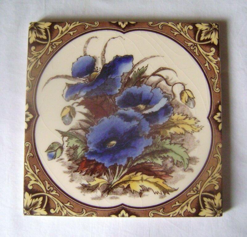 "Victorian Style Blue Poppy Design, Ceramic Tile: 6 inch Square  3/8"" thick."