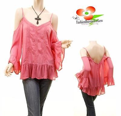 Victorian Medieval Renaissance Fairy Ruffle Bell Sleeve Off Shoulder Peasant Top ()