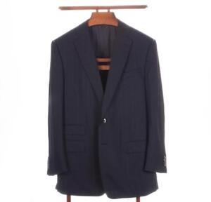 ERMENEGILDO ZEGNA Couture Navy Ticket Pocket Surgeon's Cuff Dual Vent Suit 44R