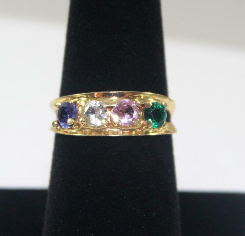 Vintage Romany 14K Yellow Gold Birthstone Mothers Ring Size 7.5
