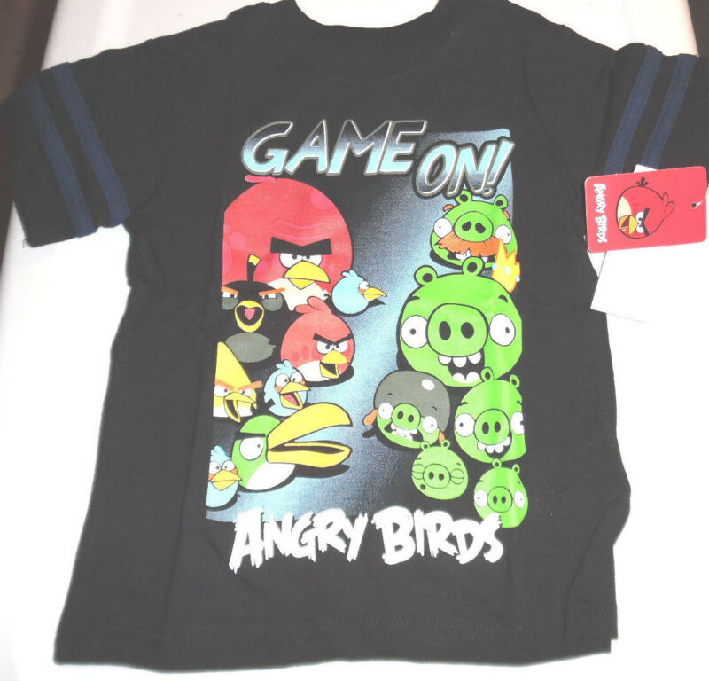 Angry Birds 100% Cotton Short Sleeve T Tee Shirt Toddler Boys 3T Multi-Color