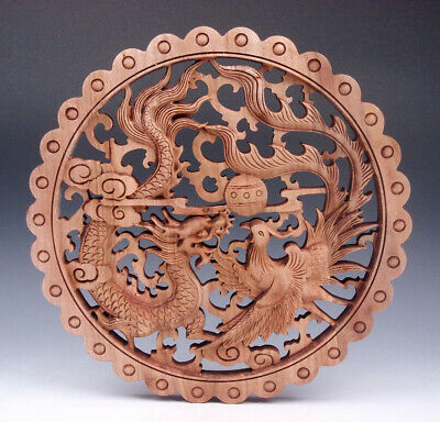 CHINESE HAND CARVED 马到成功 STATUE CAMPHOR WOOD ROUND PLATE WALL SCULPTURE