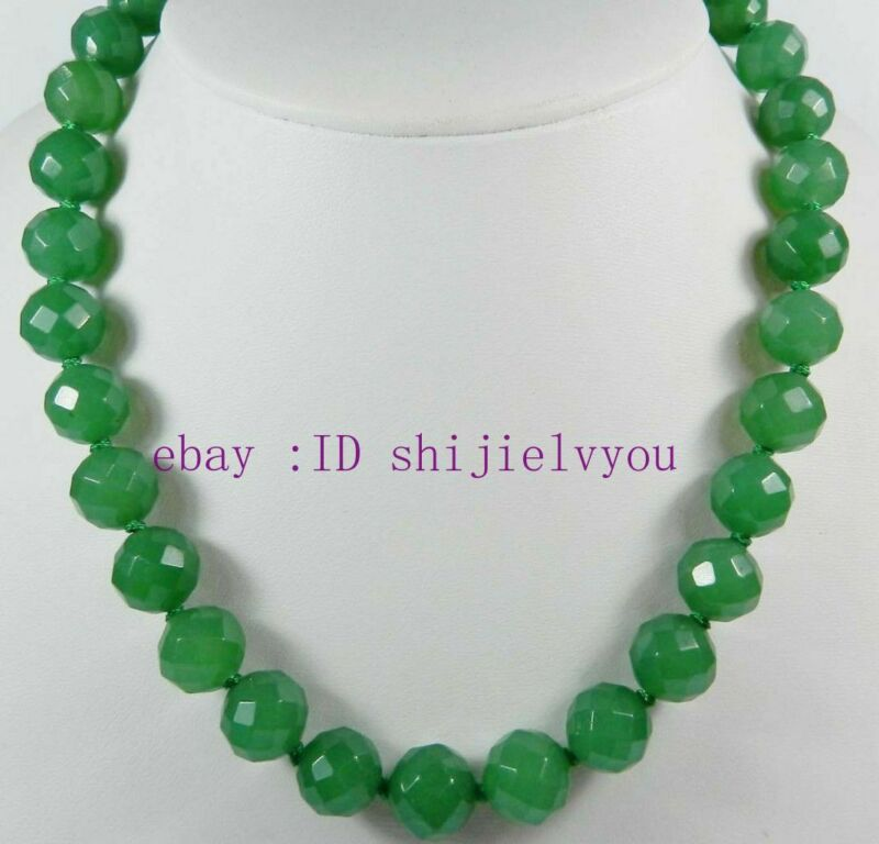18 Inches Long. Stunning! 12mm Green Emerald Faceted Round Beads Necklace