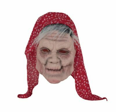 Old Lady Grey Hair Mask Latex Wig Halloween Fancy Dress Gypsy Woman Head - Old Lady Halloween Hair