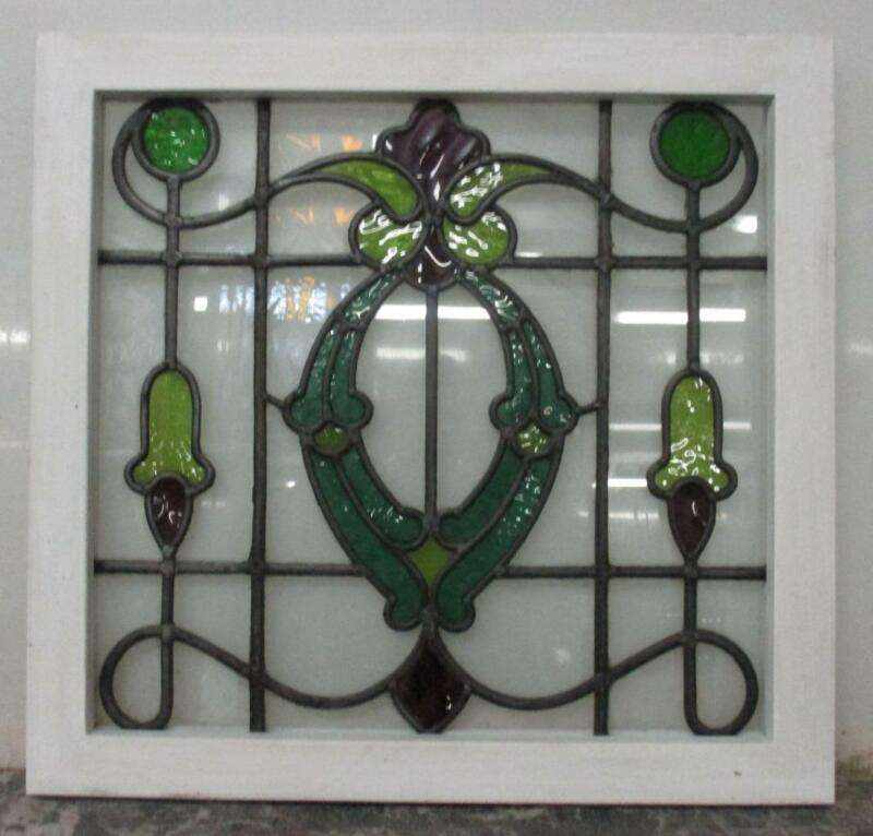"""MIDSIZE OLD ENGLISH LEADED STAINED GLASS WINDOW Stunning Floral Design 23"""" x 22"""""""