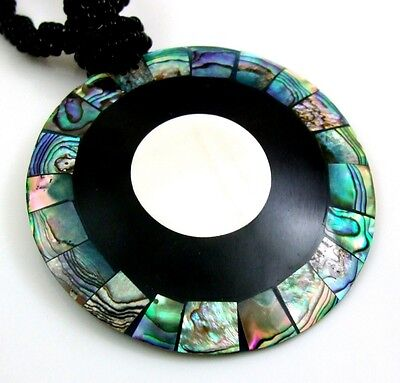 Natural Abalone Shell Mother of Pearl Round Pendant Beads necklace Jewelry BA182, used for sale  Shipping to Canada