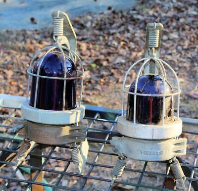 Pair 2 Vintage Cobalt Blue Signal Lights Beacon Emergency Lights