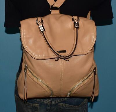 B. MAKOWSKY Beige Leather Large Shoulder Sling Backpack Bucket Flap Bag Purse