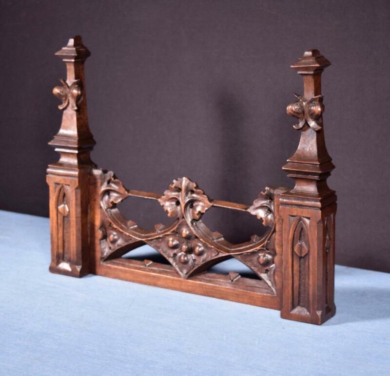 "*15"" French Antique Neo Gothic Pediment/Architectural Crown in Walnut Wood Crest"