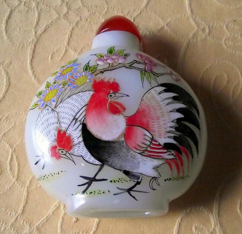 Old Signed Chinese Snuff Perfume Bottle Hand Painted Milk Glass Cockerel