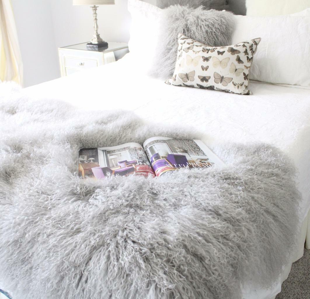 Details about GREY REAL TIBETAN FUR MONGOLIAN LAMBSKIN SHEEPSKIN HIDE BED  THROW BLANKET RUG 8e1c04753