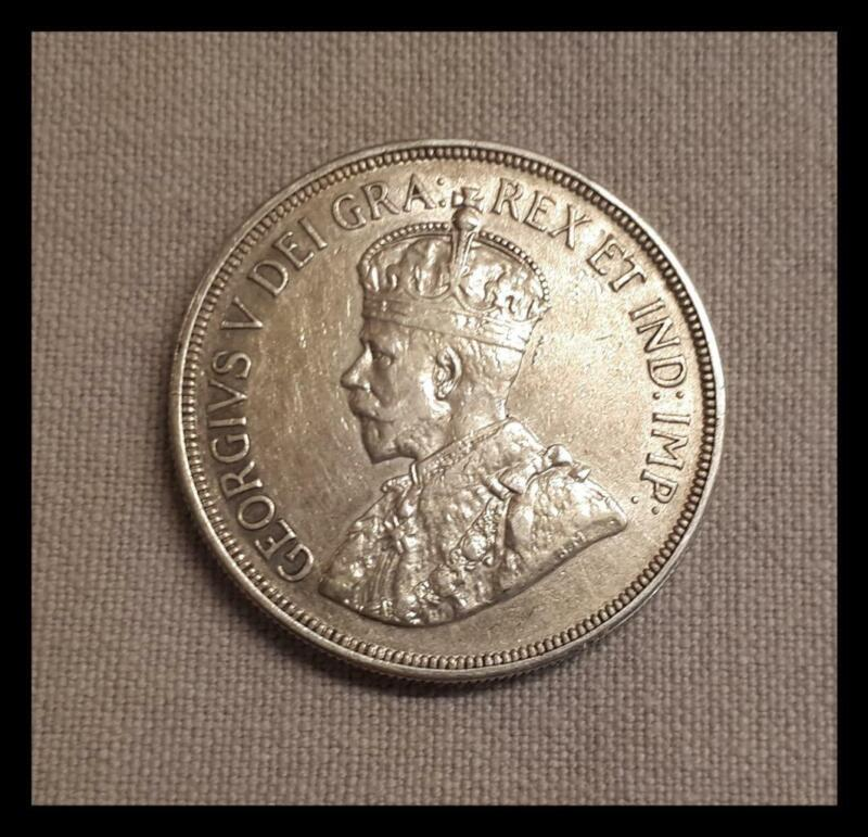 CYPRUS 1928 45 PIASTRES SILVER  COIN  50th KING GEORGE V ANNIVERSARY UK