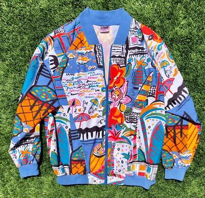 Rare VTG 90s Prince Abstract Art Beach Pop Art Tennis Windbreaker Jacket L/XL