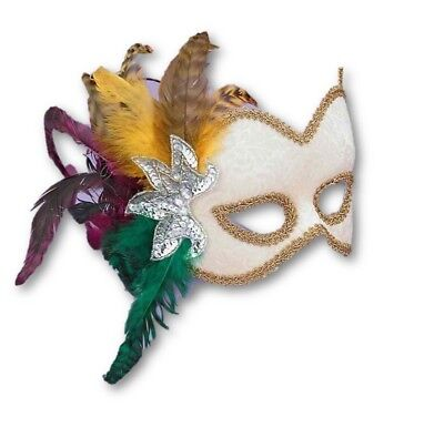 Oyster White Velvet Victorian Mask Mardi Gras Feathers Women's Costume Accessory
