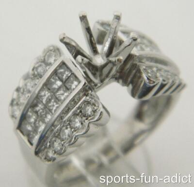 0.90ct Diamond 18K White Gold 0.90ct Round Opening Semi Mount Channel Set Ring 5 Channel Set Semi Mount Ring
