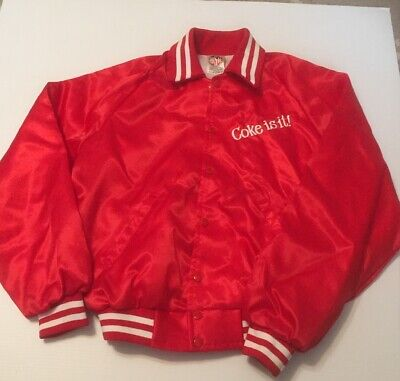 Vintage Coke Is It Jacket Coca Cola 1980's Satin Retro Size Large Made In USA