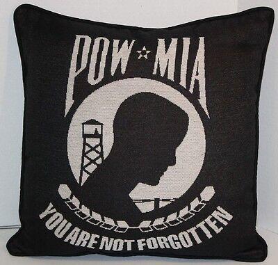 """POW MIA Flag Throw Pillow- 17"""" Decorative Patriotic Throw Pillow  - WOVEN IN USA"""