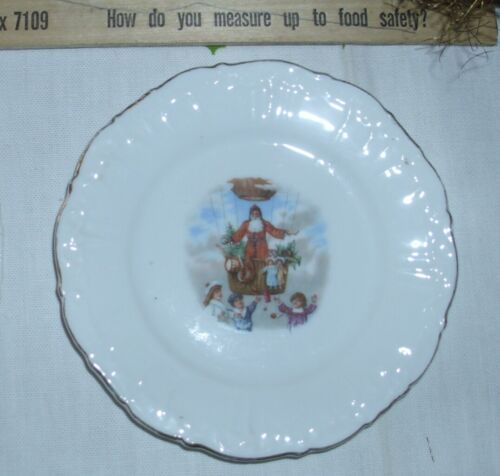 2 TWO Antique Santa Transportation German China Children Christmas Plate