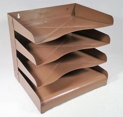Vintage Mid Century Vertiflex Pressed Steel 4 Tier Desk Top File Organizer