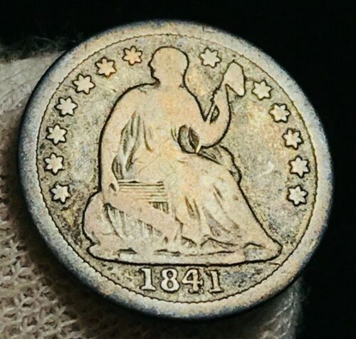 1841 Seated Liberty Half Dime 5C VG Low Mintage Date 90% Silver US Coin CC2198