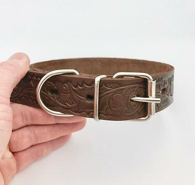 """Luxury Genuine Leather Dog Puppy Collar Brown 14""""-18"""" Neck Size Top Quality New"""