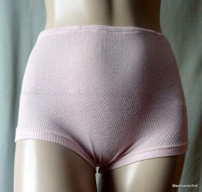 VINTAGE SOFT PINK KNITTED COTTON SCHOOL KNICKERS PANTIES Sm