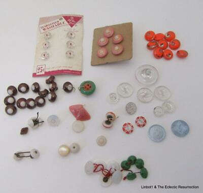 1920s-1940s Glass Button Lot of 74 Used and Unused