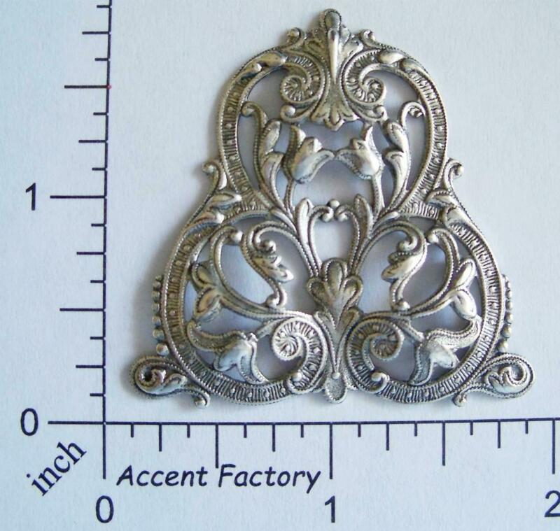 24844     Matte Silver Oxidized Ornate Filigree Brass Jewelry Finding