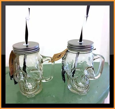 Skull Halloween Drinking Glass Cup Mason Jar Lid Set 2 BONUS Party Bottle - Halloween Decorations Mason Jars