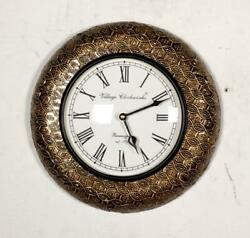 Vintage Home Decor Antique Look Brass Engraving Work Wall Clock Ethnic India 255