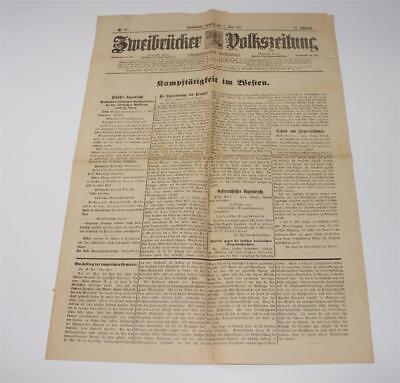 Alte Zeitung, Zweibrücker Volkszeitung, Zweibrücken Nr. 127 vom 2.6.1917   #D880