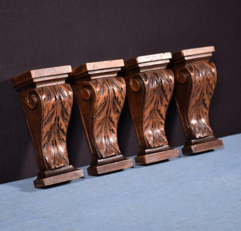 *Set of Four French Antique Corbels/Pillars/Brackets in Walnut Wood Salvage