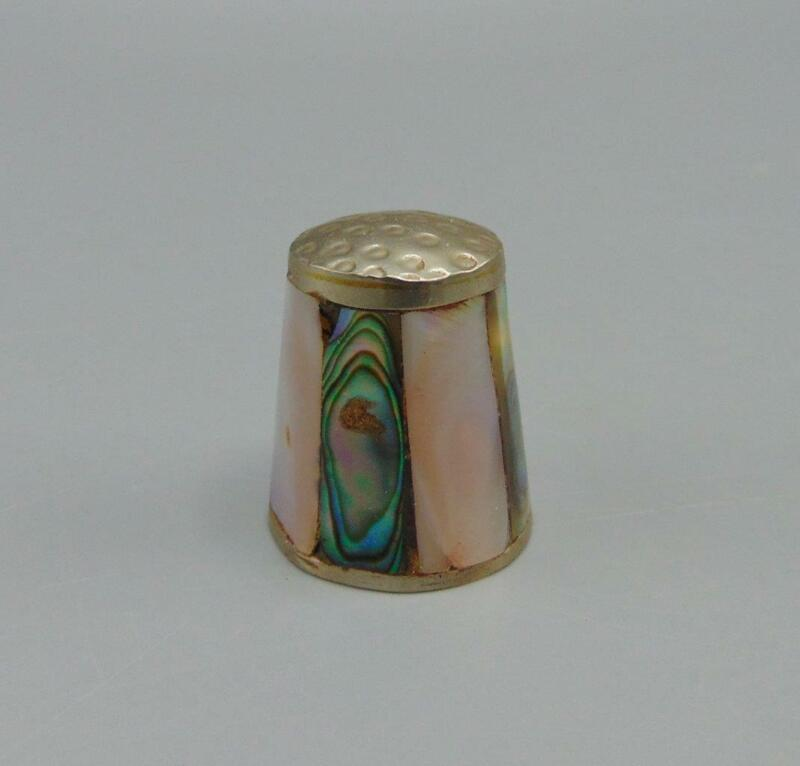Vintage Mother of Pearl Paneled Collectible Souvenir Thimble