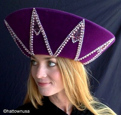 NEW JACK McCONNELL ORIGINAL Women's Purple Velour Crown Style Hat Faux Pearls